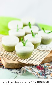 Talam Pandan or Steamed Pandan Rice Flour Pudding is one of Indonesian traditional dessert, part of Jajan Pasar series, meaning Market Street Food. It is made of coconut milk, rice flour and pandan.
