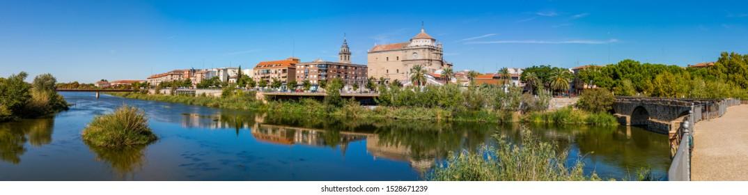 TALAVERA DE LA REINA, SPAIN - SEPTEMBER 28, 2019: The Tajo River as it passes through Talavera de la Reina, Toledo, Spain