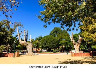TALAVERA DE LA REINA, SPAIN - SEPTEMBER 28, 2019: La Alameda public park in Talavera de la Reina, Toledo, Spain