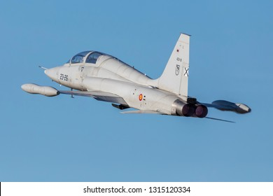 TALAVERA LA REAL-SPAIN - JULY 11,12. Northrop F-5,23 wing Spanish Air Force in spotter days on February 11-12, 2019 in Talavera,Spain.