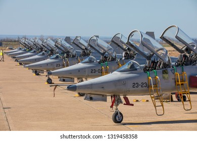 TALAVERA LA REAL-SPAIN - JULY 11,12. Northrop F-5,23 wing Spanish Air Force in spotter days on February 11-12, 2019 in Talavera,Spain