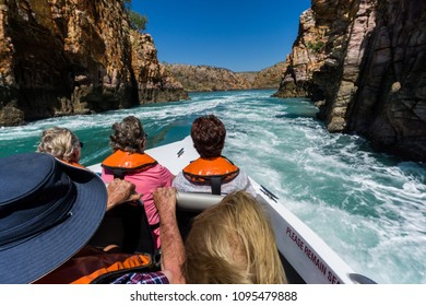 Talbot Bay, Western Australia/ Australia - August 10 2017:  The Horizontal Falls  form at narrow gaps between adjacent bays, due to the big Kimberley tides. Running thru in a speedboat is a thrill
