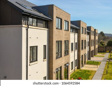 Talbot Green, Wales - April 2018: Close up view of new Extra Care accommodation which provides apartments at affordable rents and housing related support