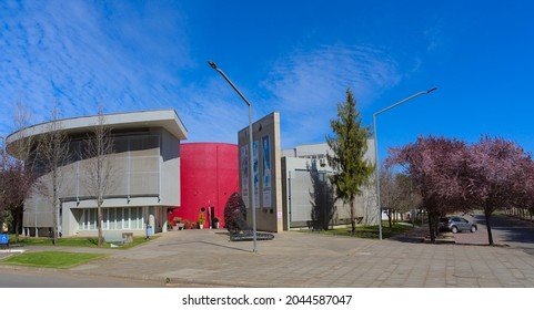 Talca, Maule - Chile - September 3, 2021: Research building on the campus of the University of Talca (Institute for biological sciences: ICB - Instituto de Ciencias Biológicas).