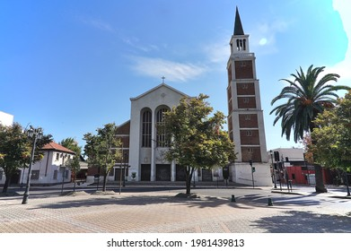 Talca, Maulle - Chile - APril 24, 2021: Cathedra at Plaza de Armas in a chilean small city.