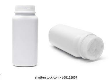 Talcum powder on white background