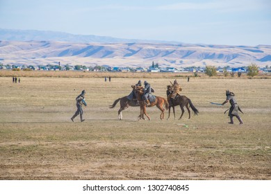 Taldykorgan / Kazakhstan - Aug 2015: The artificial historical battle between Kazakhs and Zunghars.