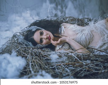 The Tale of Swan Lake. The girl bird lies in the nest, and is smiling. A fairy-tale image of a queen of swans, a suit with ostrich feathers, interesting hairpins with feathers decorate the hair.