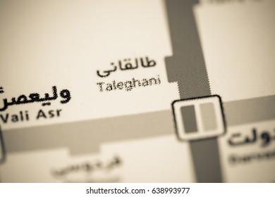 Taleghani Station. Tehran Metro map.