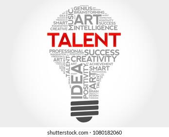 Talent bulb word cloud concept background