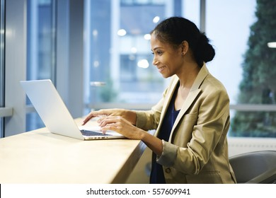 Talented afro American female editor of fashion magazine reading review and feedbacks on web page via modern laptop computer and wireless connection sitting on coworking copy space for advertising