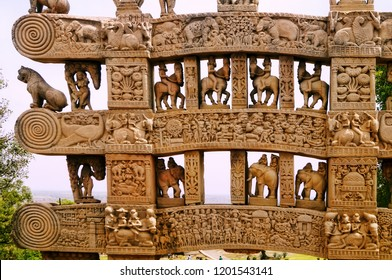 Tales from the ancient Jataka Tales inscribed on the pillars of Sanchi, India