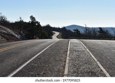 Talimena Byway, between Mena Arkansas and Talihina Oklahoma - Shutterstock ID 1977095825