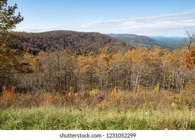 Talimena Scenic Byway from Oklahoma to Arkansas during fall color.