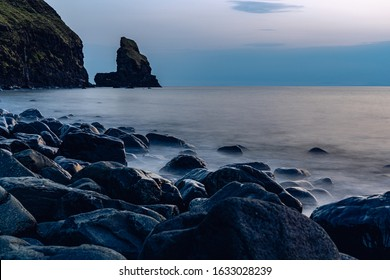 talisker bay beach sunset ocean long exposure