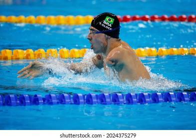 Talisson Glock of Brazil at Rio 2016 Paralympic Games. Amputee brazilian athlete wins bronze medal in the 200m medley swim SM6, Aquatic Stadium - Rio de Janeiro, Brazil 09.12.2016