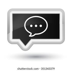 Talk bubble icon black banner button