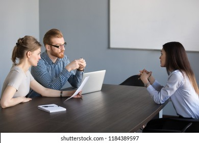 Talk at job interview concept, confident vacancy candidate answering hr questions speaking about position, skills and work experience trying to make good first impression, recruiting and hiring