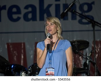 """Talk Radio host and best selling author of the book """"Power to the People"""" Laura Ingraham on stage at the Sean Hannity Freedom Concert on 9 11 2007 at Great Adventure in New Jersey."""