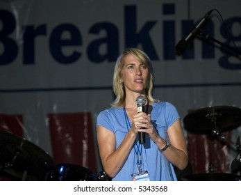 "Talk Radio host and best selling author of the book ""Power to the People"" Laura Ingraham on stage at the Sean Hannity Freedom Concert on 9 11 2007 at Great Adventure in New Jersey."