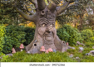 Talking tree with happy face as a concept for environmental awareness