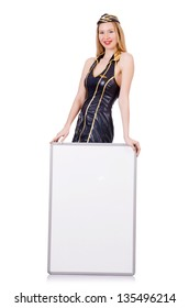 Tall airhostess with blank board on white