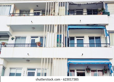 Tall apartment building. New modern block of flats