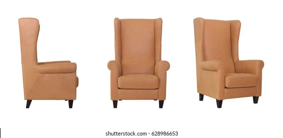 Tall Beige armchair front and side view on white background