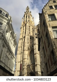 Tall big Cathedral belgium antwerp