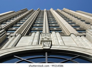 A tall building seen from below in Allentown, PA