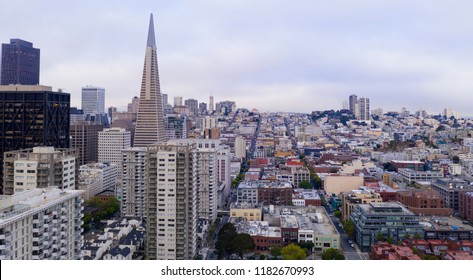 Tall buildings over look businesses and neighborhoods in western downtown San Francisco