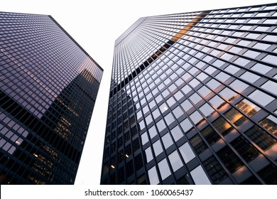 Tall buildings in Toronto's financial district rising into the white sky, light reflecting off the glass.