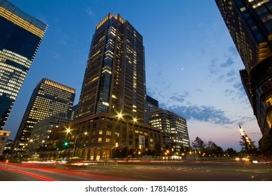 Tall business buildings in Tokyo, Japan