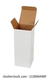 Tall cardboard box isolated on white backgrund