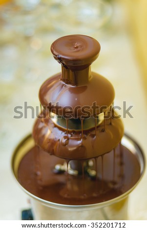 Tall Chocolate Fountain Wedding Reception Stock Photo Edit Now
