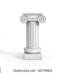 Tall Doric Column Pillar Isolated on White Background. Pedestal.