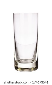 Tall empty glass isolated on white