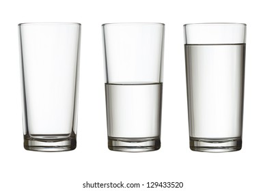 tall empty, half and full glass of water isolated on white with clipping path included