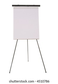 A tall flipchart standing on the floor over a white background
