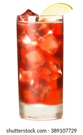 Tall glass of Cranberry juice on ice with lime Sea Breeze isolated on white background