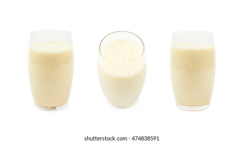 Tall glass filled with the milkshake isolated over the white background, set of three different foreshortenings