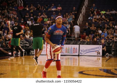 Too Tall guard for the Harlem Globetrotters at Talking Stick Resort Arena in Phoenix, Arizona USA August 11,2018.