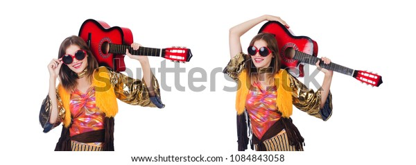 Tall guitar player isolated on white