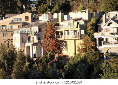 Tall houses on a cliff with overlook to San Francisco, near Oakland and Berkeley