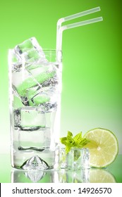 Tall iced drink crystal clear with fresh mint and lime dressing and fresh green lighting