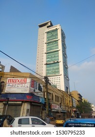 Tall MCB tower which serves as head office of MCB bank which was previously known as Muslim commercial bank. It was sold to Mian Mansha in 90's - Karachi Sindh Pakistan - Sep 2019