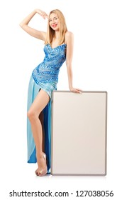 Tall model with blank board on white