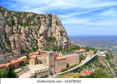 Tall mountain around the monastery of Santa Maria de Montserrat (Montserrat Monastery) in Catalonia, Spain
