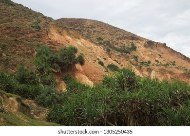Tall mountains and green grass plant in hot and cloudy Qui Nhon Vietnam