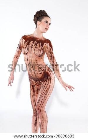 Girlssex Bilder Akt mit Schokoladensirup machen und